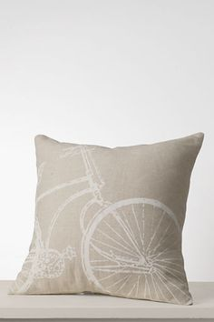 "Lands' End 18"" x 18"" Bicycle Decorative Pillow Cover or Insert      Ivory Bicycle    18"" x 18"" Bicycle Decorative Pillow Cover    Item # 41384-0AHX"