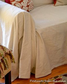 Postcards from the Ridge: Quick, cheap and easy sofa slipcover