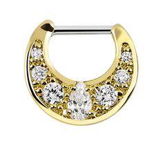 Bild von Septum Clicker Nasenpiercing Gold beschichtet mit klaren Steinen #septum #piercing #septumclicker #gold