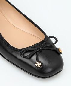 efc11be056b Tory Burch Black Laila Driver Ballet Flat with Gold T Logo Charms 6.5 New  in Box