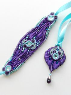 Soutache+and+shibori+bracelet++Aida+by+Violetbijoux+on+Etsy,+$99.00