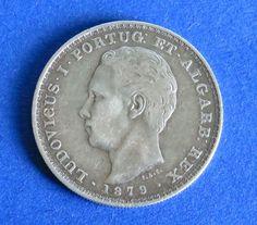 Atualmente nos leilões da #Catawiki: Portugal Monarquia - D. Luís I - ( 1861-1889 ) - 500 Reis - 1879 - Prata