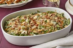 Shake up your menu with our Green Bean Casserole Amandine recipe. Green Bean Casserole Amandine is the perfect way to make your green beans extraordinary. Green Bean Casserole, Vegetable Casserole, Vegetable Side Dishes, Vegetable Recipes, Veggie Side, Delicious Green Beans, Christmas Side Dishes, Christmas Foods
