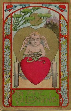 Beautiful Vintage Cupid  Valentine's Day Postcard Victorian