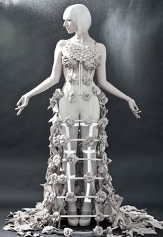 Cage Dress with leather flowers - conceptual couture; sculptural fashion; wearable art // Rachel Freire