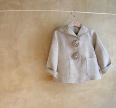 Linen Jacket, Pea Coat Toddler girls, biscuit colored , sailor collar. CLICK HERE TO BUY by PABUITA on Etsy