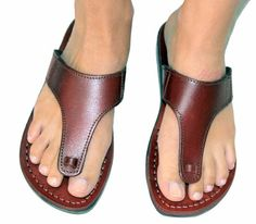 New greek style flip flop biblical sandals from camel factory in holyland , special sandals , leatherworker hand made product , hand-stitch and glue
