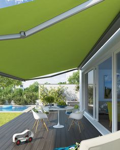 Valbonne Awning Green - Elegantly tapered, the Valbonne/LED extra-slim, smooth looking design makes an attractive addition to any modern home. Its dimensions also make it ideal for most patio sizes.