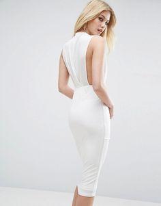 ASOS Blouson Crepe Midi Dress
