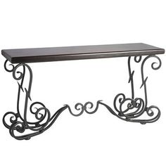 """Exquisite piece the Quention Console Table.  Black/brown  58.50""""W x 17.50""""D x 30.75""""H  Wrought iron, sheesham wood  Hand-forged"""