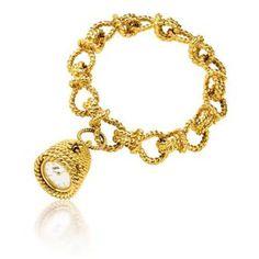 Verdura 18k Gold Beehive Watch Bracelet