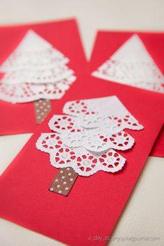 Imagen tarjetas-navidenas-manualidades-con-mantel del artículo Elegantes tarjetas navideñas hechas a mano 2016