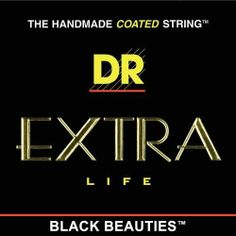 """DR Strings Electric Guitar Strings, Black Beauties - Extra-Life, Black Coated, 9-42 by DR Strings. $9.21. The HandMade String? is now The HandMade COATED String?! DR HandMade Strings, makers of the world's finest handmade guitar and bass strings, now combines the latest wire technology with old-fashioned craftsmanship.  DR's EXTRA-Life? is the world's finest coated string. EXTRA-Life? has a super thin advanced .0003"""" coating on the plain strings and on the wrap wire.The wrap ..."""