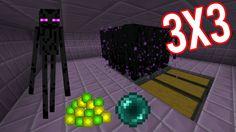 Minecraft Easy Big Enderman Farm 3x3 XP+Ender Pearl 2D and 3D tutorial
