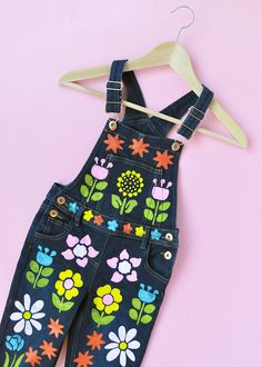 Give plain overalls a floral makeover with stencils!