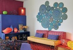 Here are some colourful living room decoration ideas Living Room Decor Colors, Colourful Living Room, Bohemian House, Bohemian Decor, Recycled Magazines, Living Room Inspiration, Cool Rooms, Cool Walls, House Colors