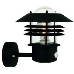 Modern Outdoor Wall Light in Black with PIR Sensor ID Large View
