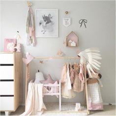Pink white grey girls room