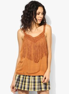 c5396ee9491ad Buy Dorothy Perkins Orange Fringed Macrame Cami online