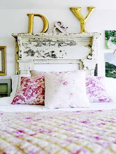 Salvaged mantel!  - Great headboard idea, make sure it is not lead paint (lead testers are found at hardware stores) or you can make this, layered molding, boards, shelf holders, & crackled paint!