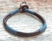 Mens Blue/Gray and Brown Leather Wrap Bracelet, Rugged Style, Gift for Him