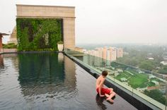 The #Leela Palace #NewDelhi - rooftop #pool with a gorgeous view of Lutyen's Delhi