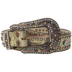 M&F Western Scroll and Concho Belt (Gold) Women's Belts ($59) ❤ liked on Polyvore featuring accessories, belts, cowboy buckle belts, buckle belt, studded belt, gold studded belt and gold sparkly belt