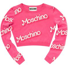 Rental Moschino Think Pink Cropped Sweater (2 135 UAH) ❤ liked on Polyvore featuring tops, sweaters, crop tops, moschino, pink, dresses, crew neck pullover sweater, crewneck sweater, long sleeve crop sweater and crew-neck sweaters