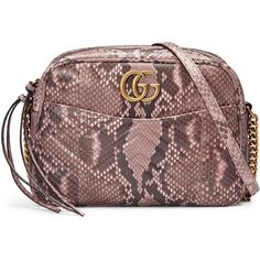 Gucci Gg Marmont Matelassé Python Shoulder Bag ($2,200) ❤ liked on Polyvore featuring bags, handbags, shoulder bags, light pink, structured purse, light pink purse, python purse, brown purse and chain strap purse