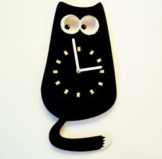 Wood Wall Clock Black Cat Wall clock for a от ClockArtVintage Handmade Wall Clocks, Unique Wall Clocks, Clock Art, Clock Decor, Dog Accesories, Accessories, Etsy Handmade, Handmade Items, Minimalist Wall Clocks