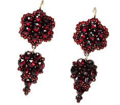 Victorian Bohemian Garnet Earrings - The Three Graces