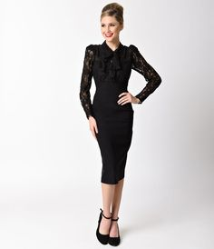 Plus size long sleeve 1940s style dresses
