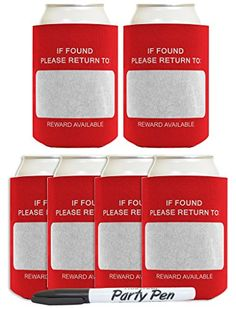 Funny Beer Coolie If Found Please Return To Name Tag and Party Pen Gag Gift 6 Pack Can Coolie Drink Coolers Coolies Red ** Be sure to check out this awesome product.
