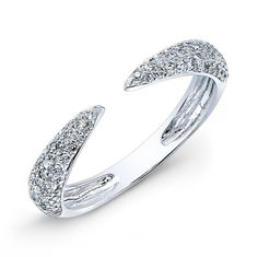 14KT White Gold Diamond Horn Pinkie Ring   APPROX. CARAT WEIGHT.23 NUMBER OF STONES98 PRICE$580.00