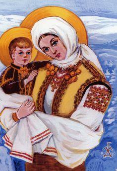 Hutsul Madonna, tempera 1980 by Maria Harasowka-Daczyszyn, Chicago ukrainian Mother Mary, Mother And Child, Ukrainian Christmas, Pictures Of Mary, Mama Mary, Ukrainian Art, Blessed Mother, Russian Art, My Heritage