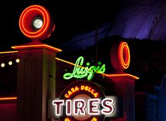 The Moon Over Luigi's Casa Della Tires in Cars Land at Disney California Adventure Park