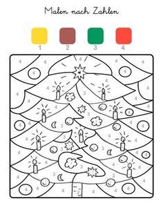 ausmalbild malen nach zahlen: winterzauber ausmalen kostenlos ausdrucken   vorschule   pinterest