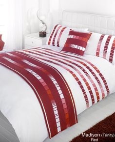 Designed by DEBORAH WILLMINGTON DESIGNS - Madison Trinity Red Single Duvet Quilt Bedding Set Bed in a Bag Cushion Cover Runner