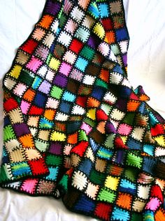 Scrap yarn afghan colorful crocheted lap by lovinghandscrochet Don't usually like black in crochet but this is beautiful Scrap Yarn Crochet, Knit Or Crochet, Crochet Crafts, Knitting Yarn, Knitting Patterns, Crochet Patterns, Crochet Afghans, Crochet Squares, Crochet Stitches
