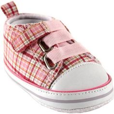 Luvable Friends Newborn Baby Girl Plaid Sneakers, Size: 12 - 18 Months, Pink