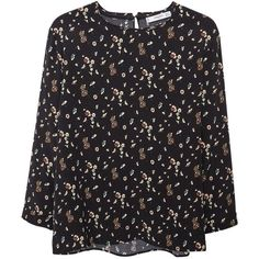 Mango Floral Print Blouse, Black ($20) ❤ liked on Polyvore featuring tops, blouses, long sleeves, long sleeve tops, shirts, roll sleeve shirt, 3/4 length sleeve tops, keyhole shirt, 3/4 sleeve tops and three quarter sleeve shirts