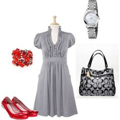 Cute dress, pop of red, and a COACH!
