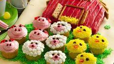 Minion Cupcakes Recipe - BettyCrocker.com Yellow Cupcakes, Mini Cupcakes, Cupcake Cakes, Cup Cakes, Snowman Cupcakes, Betty Crocker, Farm Animal Cupcakes, Animal Cakes, Barn Cake