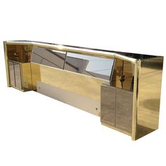 King-Size Bed in Brass & Bronzed Mirror by Mastercraft | 1stdibs.com
