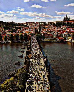 Charles Bridge Prague Czech Republic. Blue Sky with by seardig, $16.00