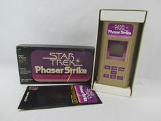 1979 Star Trek Phaser Strike Microvision Game Cartridge and Box Milton Bradley Star Trek Phaser, Star Trek Toys, Milton Bradley, Retro Video Games, Stars, Box, Snare Drum, Sterne, Star