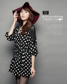 Korean Fashion Round Collar Lace Pattern Dress (With Belt)