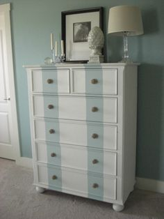 dresser with stripes of annapolis green by Benjamin Moore - housetoyourhome blog