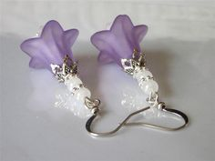Lilac Flower Earrings Lucite Light Purple and White