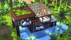 Building Games 455708056043862216 - –MODERN JUNGLE GETAWAY 🐒🌴☀️☁️ –hello again friends. i have built a mini mansion in the middle of the Selvadorada jungle! perfect for a getaway with nature right at your fingertips! what do you guys… Source by Sims 4 Modern House, Sims 4 House Design, Sims 4 House Plans, Sims 4 House Building, Sims 4 Houses Layout, House Layouts, Sims 3 Houses Ideas, Sims Ideas, House Ideas
